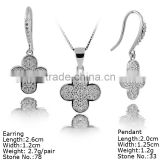 SZA2-002 Four Leaf Clover Silver Jewelry Set With CZ Stones Jewelry Set Beautiful Jewelry Set