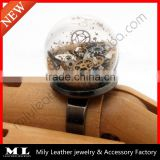 2014 New Design Steampunk Sands Of Time Glass Dome Globe Terrarium Statement Ring GHBR-010