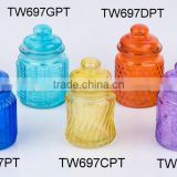 TW697GPT color painted glass jar for candy