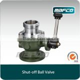 Outlet shutoff ball valve for fire vehicles fire fighting equipment