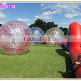Colorful inflatable body zorbing ball on the grass, adult zorb ball factory prices Image