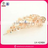 Wholesale new designed beaded flower snap hair barrette for young girls