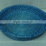 Vietnam handcrafted blue lacquered round bamboo & rattan tray