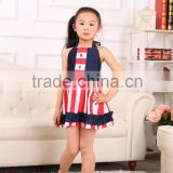 red stripe backless and blue ruffle children casual style summer dress for baby children clothes kids beach dresses baby girl
