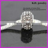 KJL-A0120 wholesale loose bling crystal clear black color paved large hole beads charm silver european beads