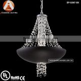 Modern Lopez pendant lamp with Matte Black finished bowl housing clear crystal