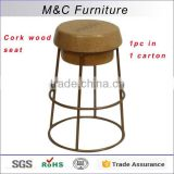Quality guarantee painted pipe steel bar chair with cork wooded seat