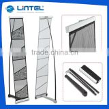 Exhibition Display Doube Lines Two Aluminum Crossbands Steel Base A4 4 Layers Aluminum Material Net Stand