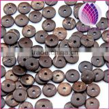 Coconut Shell Spacer Beads Flat Round brown 100PCS/Bag