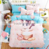 Cute Cat Printed Pink Color 100% Cotton Kids / Babies Bedding Set