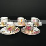 Low bone new bone china Ceramic coffee cup coffee cup set with rose design
