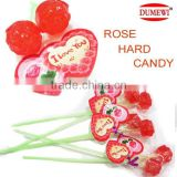 Valentine Day Gift Red Hard Rose Candy Lollipop