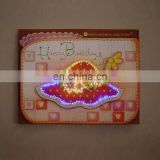 Fashionable promotional custom led light music christmas birthday greeting card for kids