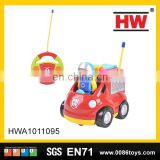 Hot sale 15cm 2channel plastic remote control kids toy rc cartoon with music & light