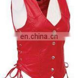 2016 hot Red Ladies Soft Leather vest