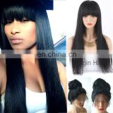 Brazilian human hair lace front wigs with bangs
