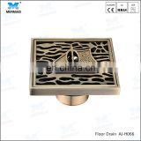 4 inch antique bronze square floor drain anti-odor drain cover