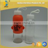 300ml glass water drinking bottles with white plastic lid & cover