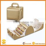 high quality gold Leather beauty cosmetic case,hard side cosmetic jewelry box case,leather jewelry display case