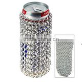 Stainless Steel Chainmail Can Sleeve Bag, Stainless Steel Chainmail Bottle Holder Bag