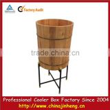 Big round wood ice barrel cooler