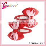 Fast shipping wholesale lovely ribbon bows handmade covered cute bobby pins for toddler (QRJ-0035)