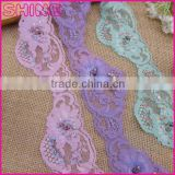 "Stock Manufacturer New Design 2.44"" Violet Wave Handmade Wooden Beaded Nylon Spandex Lace Trim"
