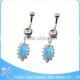 Newest promotional steel wholesale beautiful women navel belly dangle ring