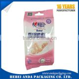 wet wipes packaging materials/plastic wrap film for wet wipes /tissue bags with tear notch/baby diaper packaging bag