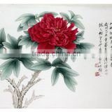High Quality Home Decoration Handmade Modern Original silk Canvas Wall Art peony Painting