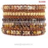 Wholesale fashion natural stone jewelry high quality leather wrap handmade friendship bracelets