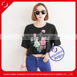 2015 fashion custom cotton printed batwing sleeve t shirt