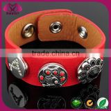 Fashion Red PU Leather Sanp Button Jewelry, Metal Snap Button Bracelet