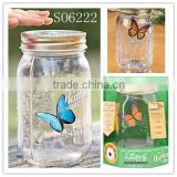 Promotional Electronic Butterfly Jar, Cheap Butterfly Glass Jar, Novel Solar Toy Gift SO6222