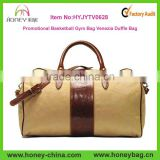 Promotional Sport Bag Basketball Gym Bag Venezia Duffle Cotton Canvas Italian Leather Travel Bag