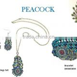 Fashion small link chain with metal crystal peacock neckalce with earrings and bracelet jewelry set ,