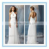 Criss-Cross Front Halter Neckline Sea Glass Beaded Trim at Empire Slim A-Line Skirt Open Back Wedding Dress (WDWA-1014)