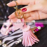 Bright Leather Bag Charms Tassel Keychains - White, Green, Turquoise, Blue, Purple, Hot Pink, or Black - Gold Plated