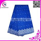 Hot design african wedding dresses fabric voile lace with eyelet in royal blue color