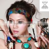 Cheap Tribal Peacock Feather Belly Dance Head piece, Feather Headwear Angels Decoration for Woman Dancer (T008)