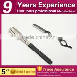 Professional 17cm stainless steel silver hair salon straight barber razor with plastic handle
