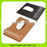 15015 Eco-friendly Creative promotional item leather mouse pad with hand rest luxury office mouse mat