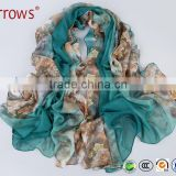 2016 Custom Digital Printed Long Colorful Chinese Twill Imitation Silk Fabric Shawl Scarf for Women