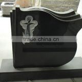 headstone accessories hand etching memorial tombstone shanxi black upright book shape headstone