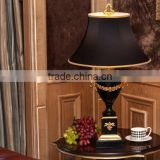 Pure brass carving decorative black marble table lamp with black fabric lampshade