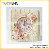 Petite Floral Alarm Clock Fashion vintage home rustic alarm clock rose small alarm clock furnishings carved resin table clock