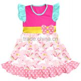 fashion baby unicorn print dress cutting remake new style kids party wear girl frock