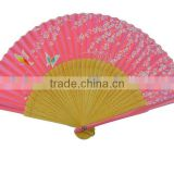 Best Seller Gift Bamboo Fans,Fancy Bamboo Nylon Silk Foldable Hand Fans for Crafts Wholesale