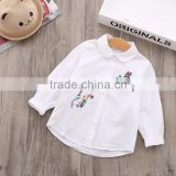 Baby infant boutique embroidery kids autumn clothes top shirt infant fall children toddler ruffle long sleeve girls blank shirt