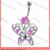 Belly button ring with round gem and jeweled butterfly beautiful body piercing navel jewelry ring in surgical steel